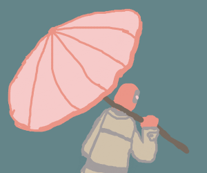 deadpool in a trenchcoat holding an umbrella