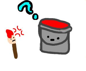 paintbrush complaining to bucket of paint