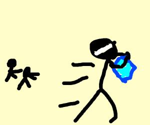 ninja running away after a diamond heist