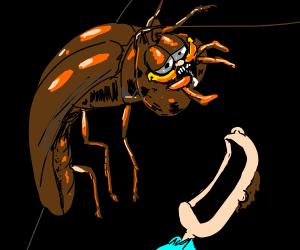 giant cockroach-monster Garfield hunting Jon!