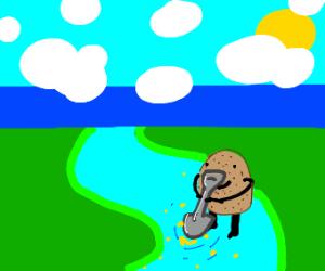 Potato Digging in a River