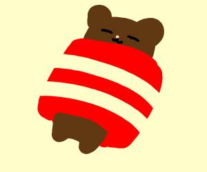 bear sleeping in bacon, zzz