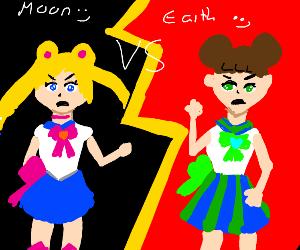 Earth vs Moon: both as anime girls