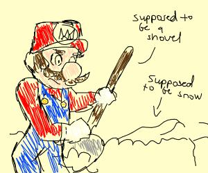 Mario shovels snow