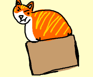 Chubby ginger cat squeezing into box