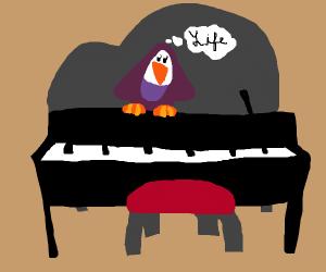 Purple penguin ponders life on piano