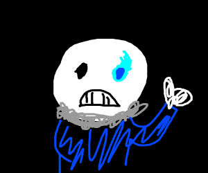 depressed sans is content with life