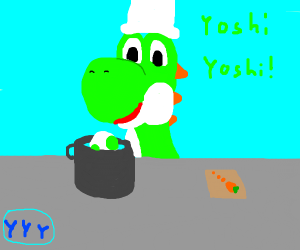 Yoshi Cooking His Egg