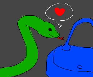 Snake loves your purse