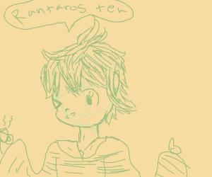 Green haired boy drinking tea