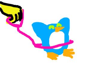 Cute blue penguin on a leash