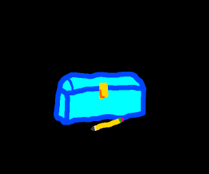 Treassure chest with a blue n and a pencil