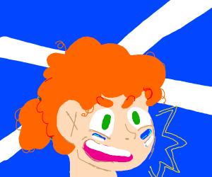 Scottish woman with facepaint & scottish flag