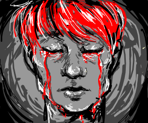 Red haired man crying blood