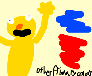 Yellow man worships the other primary colors