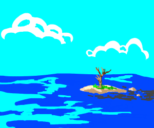 Lonely tree on a small island