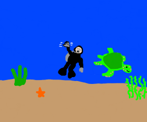 Scuba Diver waves hi