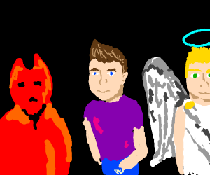 a man surrounded by a devil and an angel