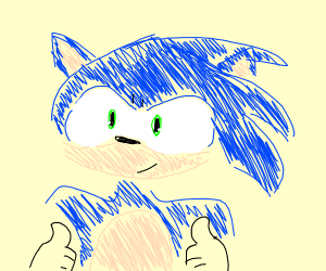 Sonic holds both thumbs up