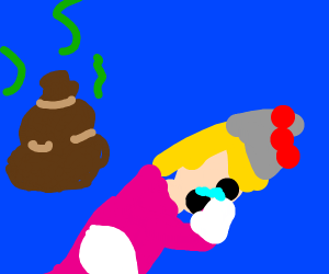 Princess Peach crying, next to a pile of poop