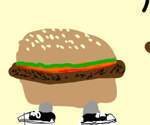 Hamburger wearing Shoes