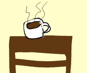 Coffee on coffee table.