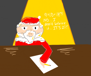 Santa confused in math class