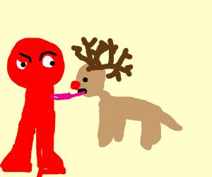 reindeer licks red pole