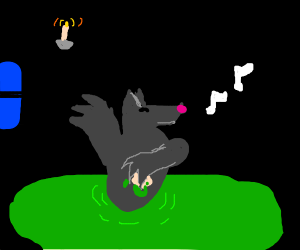Werewolf bathing in goo