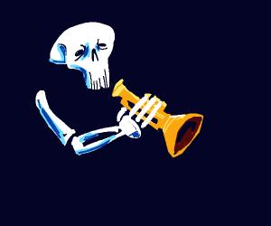 skeloton playing trumpet