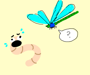 Chicken worm meets dragonfly