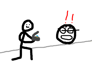 stick man proposes to face with glasses