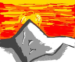 Sunrise over the mountain peak