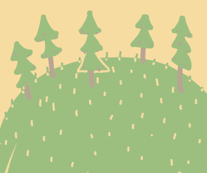 5 pine trees on a grassy hill