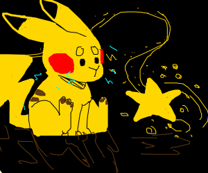 Pikachu is following a star