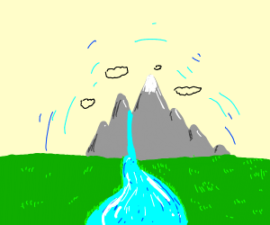 Mountain with a waterfall leading to river