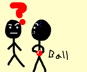 Shady guy holding a red ball behind his back