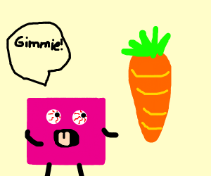 the pink square wants a carrot