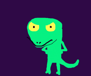 Lizard stars angrily at you