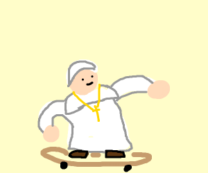 Pope riding a skateboard