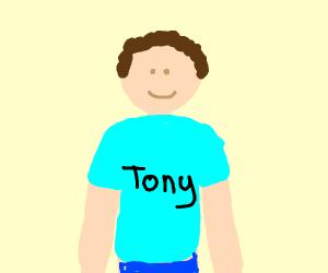 guy wears shirt with tony on it
