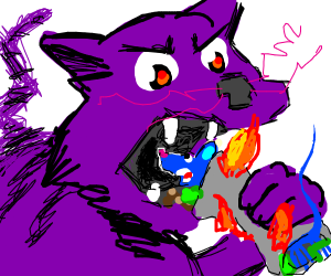 cat is about to e eat a fiery mice taco