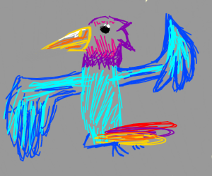 Colorful bird in the shape of a swastica