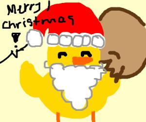 yellow santa says merry christmas