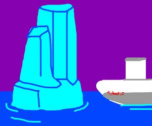 The Titanic near an iceberg
