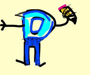 D with trousers and a pencil