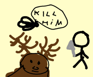 Fly tells stick figure to kill disabled moose