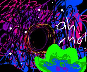 duolingo owl sees a black hole