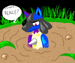 lucario trapped in quicksand