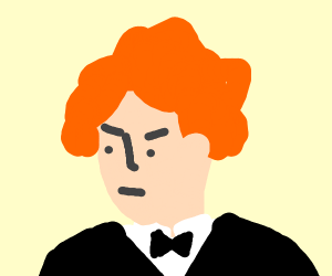 Redhead in a tux is unamused.